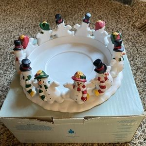 Partylite Frolicking Frostys 3 wick holder